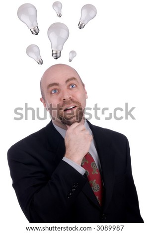 Businessman getting an idea with light-bulds over his head isolated over white - stock photo