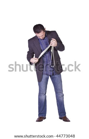 Businessman Getting Ready Choosing a Tie - Isolated Background