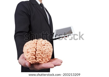 businessman give the brain in concept idea for successful business - stock photo