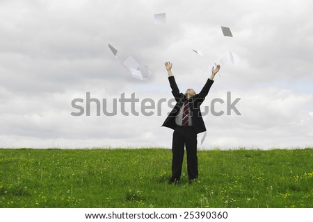 businessman give up her document - stock photo