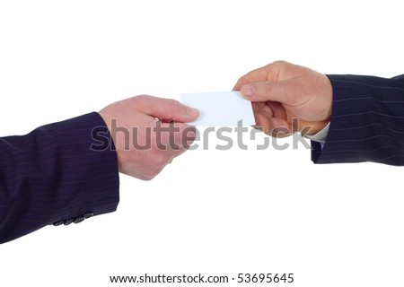 businessman give visiting card to another businessman isolated on white background