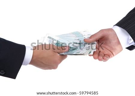 businessman gives money - stock photo