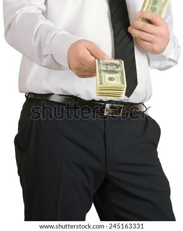 Businessman gives the money isolated on white background - stock photo