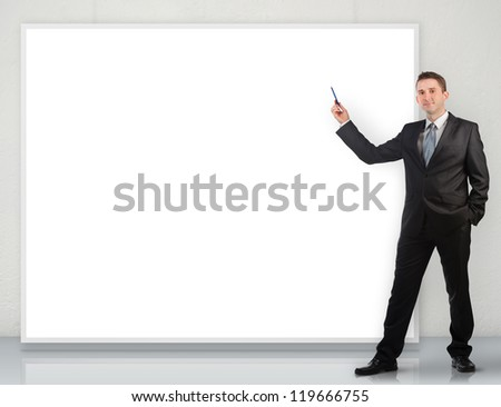 Businessman giving a presentation - stock photo