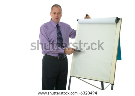 Businessman giving a presentation, blank flip chart, add your own text.