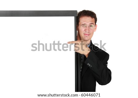Businessman giving a presentation using a flipchart - stock photo