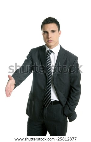 Businessman giving hand facing to camera, isolated on white
