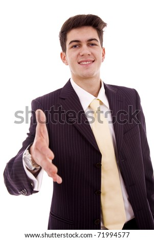 Businessman giving hand for handshake, isolated on white - stock photo