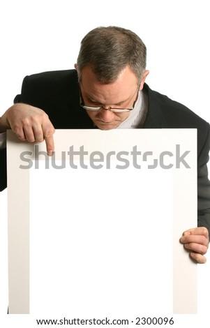 Businessman giving presentation - stock photo