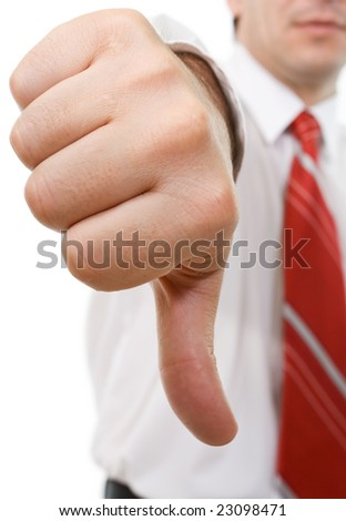 Businessman giving the thumbs down sign - isolated