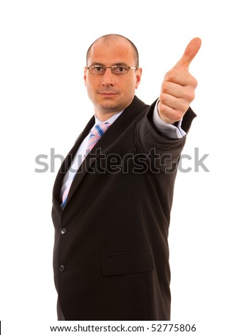 Businessman giving thumbs up on isolted White background