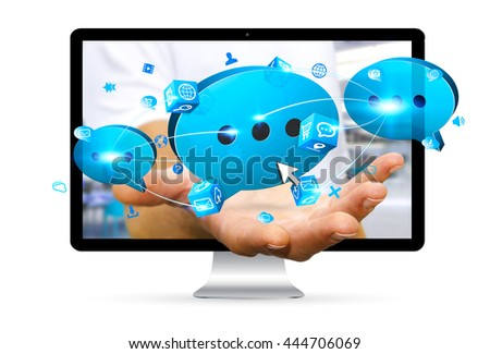 Businessman going out of computer holding blue chat icon in his hand '3D rendering'