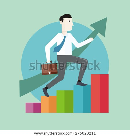 Businessman going up. Business man with case rises to top step of stairs. Career concept in flat design style. cartoon man climbing the staircase to success and progress. Raster version - stock photo