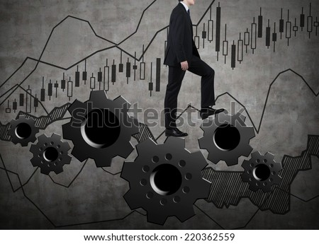 Businessman going up to success.  - stock photo