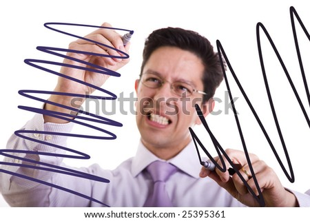 businessman gone crazy drawing lines in the whiteboard (selective focus) - stock photo