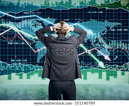 Businessman grabs the head concept with business chart on scoreboard - stock photo