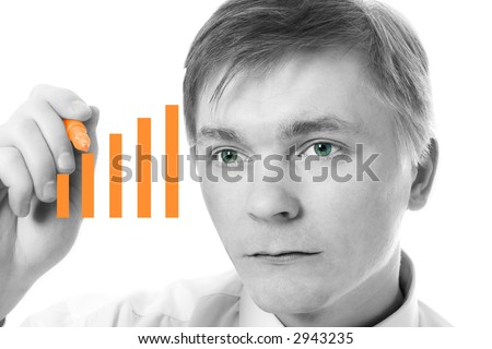 businessman graph diagram over white background - stock photo