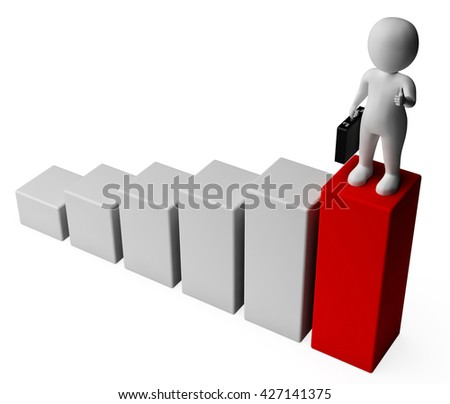 Businessman Graph Representing Success Successful And Commercial 3d Rendering
