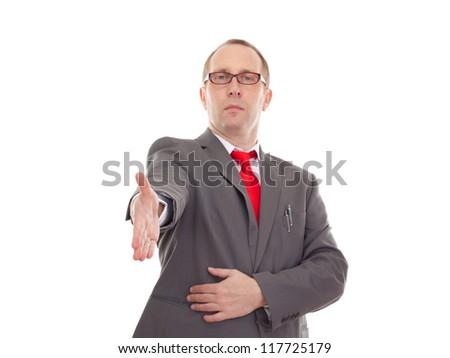 Businessman greeting somebody - stock photo