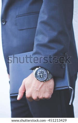 Businessman hand and paper book, investor, office man and watch, human and notebook, Boss costume or suit, corporate worker dress, no face, person going to the meeting