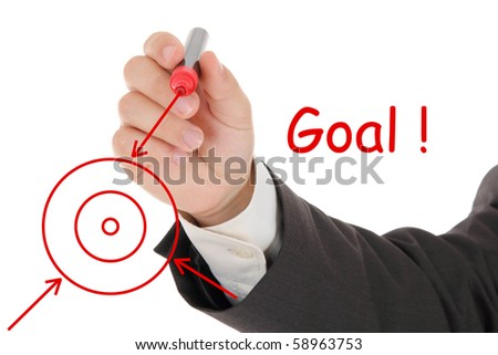 businessman hand and red chart - stock photo