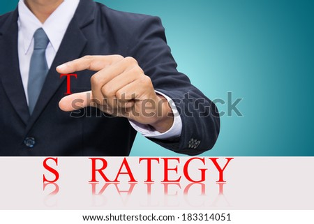 Businessman hand and word strategy concept.  - stock photo