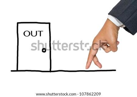 Businessman hand as finger walking to exit door - stock photo