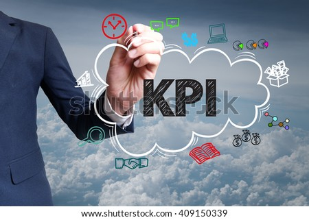 businessman hand draw cloud , icon cartoon with KPI text , business online
