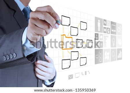 businessman hand drawing an empty diagram on new computer interface as concept - stock photo