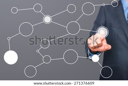 businessman hand drawing blank flow chart on new modern computer as concept. Isolated on grey. Stock Image - stock photo