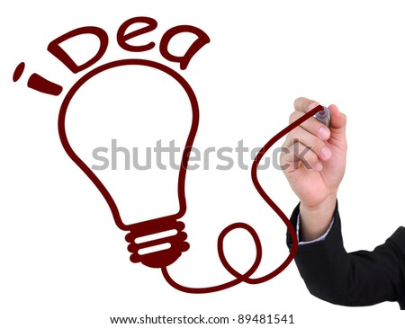 Businessman hand drawing bulb idea  on the whiteboard