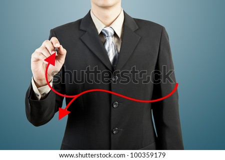 businessman hand drawing chart red arrow - stock photo