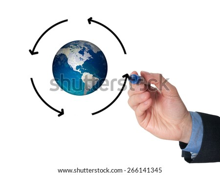 Businessman hand drawing circle around Globe. Communication concept. Isolated on white. Stock Image - stock photo