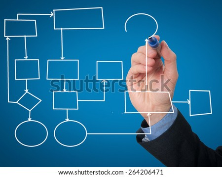 Businessman Hand drawing empty diagram. Isolated on blue background. Stock Image