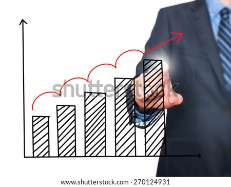 Businessman hand drawing growth graph on visual screen. Isolated on white. Man finger on chart. Business, internet, technology concept. Stock Image - stock photo