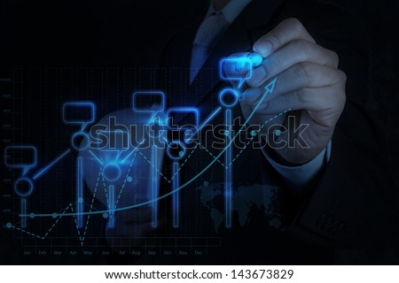 businessman hand drawing virtual chart business on modern computer - stock photo