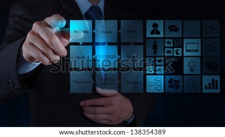 businessman hand draws business success chart concept on virtual screen - stock photo