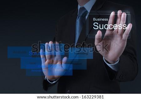 businessman hand draws business success chart concept on virtual screen - stock photo