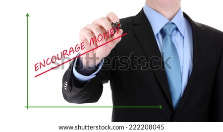 Businessman hand draws business success chart isolated on white - stock photo