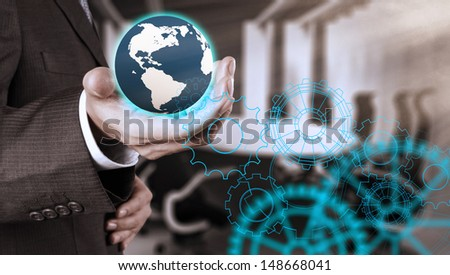 businessman hand draws gear to success concept - stock photo