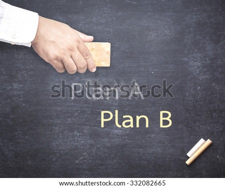 Businessman hand erased the word Plan A from a chalkboard for changing to Plan B. Change concept. - stock photo