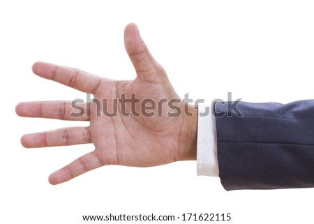 Businessman hand gesture number five closeup isolated on a white background with using path - stock photo