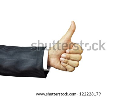 Businessman hand giving thumb up - stock photo