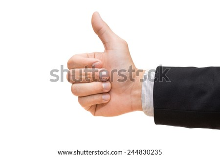 Businessman hand giving thumbs up isolated on white background - stock photo