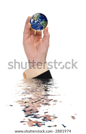 businessman hand holding a globe with a simulated reflection isolated over white - stock photo