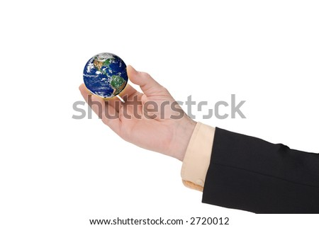 businessman hand holding a globe with a white background