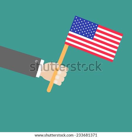 Businessman hand holding american flag Flat design style  - stock photo