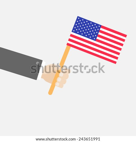 Businessman hand holding american flag Isolated Flat design style  - stock photo