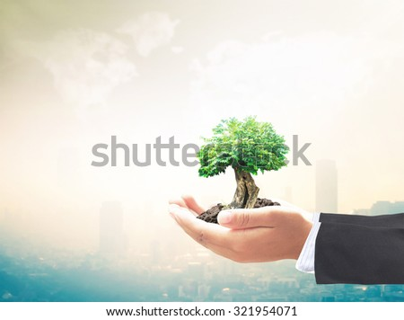 Businessman hand holding big plant with soil on blurred warm city sunrise over world map of clouds background. Ecology,  World Environment Day, Investment, Insurance Agent, Ecological City concept. - stock photo