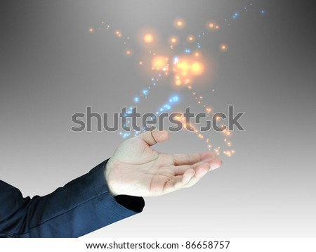 Businessman hand holding blank